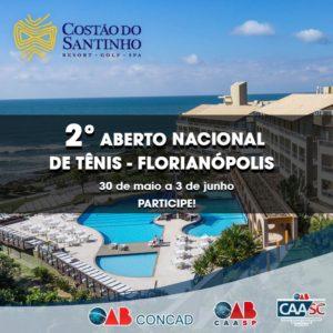 Inscrições abertas para o 2º Aberto Nacional de Tênis dos Advogados, em Florianópolis/SC.
